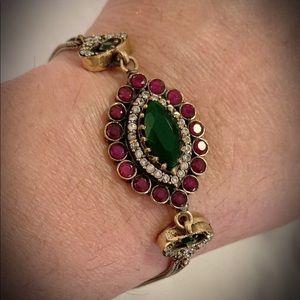 Jewelry - EMERALD RUBY FINE BRACELET Solid 925 Silver/Gold